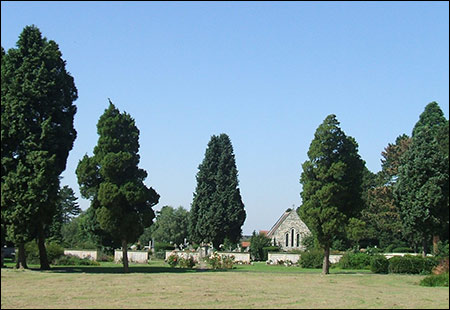 View across the cemetery to the chapel