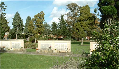 Memorial walls and some of the mature trees