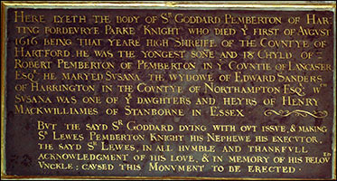 Inscription on the Sir Goddard Pemberton Memorial