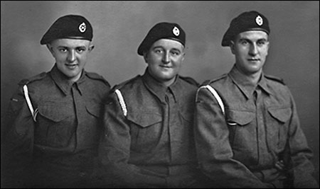 Picture of Ken Morgan, Jack Dodson and Cliff Iliffe at Catterick Army Training Camp 1942.