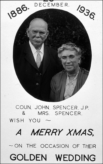 Christmas Day Golden Wedding celebrations for Councillor & Mrs Spencer in 1936