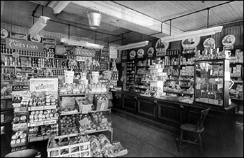 The interior of Park Road grocery c1940