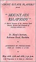 Cover of a programme for 'Mountain Rhapsody'.