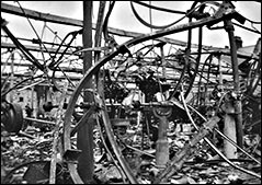 Picture of the factory showing damage after the fire