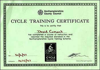 David's cycle training certificate