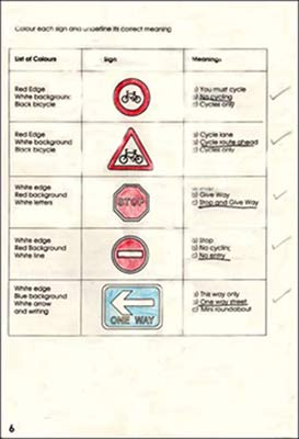 Another page from the work book about road signs and markings