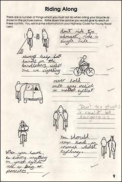 Page from the work book about how to ride along safely