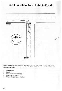 Page from the work book showing how to turn left on to a main road