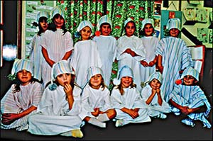 Pictures of the children dressed up for the annual Nativity Concerts