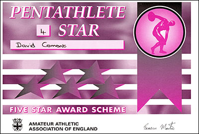 4 Star Pentathlete certificate achieved by Jenny's brother