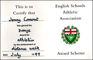 Jenny's certificates in the English Schools Athletic Association Award Scheme