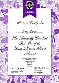 Jenny's Young Lifesaver Award certificate