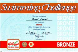 The bronze swimming challenge certificate achieved by Jenny's brother