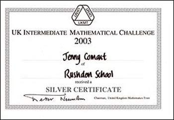 The Silver Certificate won by Jenny in the Intermediate Maths Challenge in 2003 when she was in Year 10