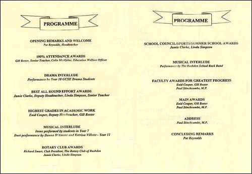 Cover and first two pages of the programme for Achievements Evening 1999, showing the awards to be presented and who was to make the presentations