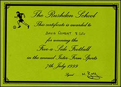 Certificate awarded to Jenny's brother for winning the 5-a-side Football at the Inter-Form Sports