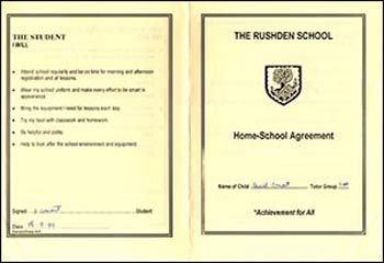 The Rushden School Home - School Agreement for Jenny's brother, dated September 1999