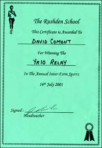 Certificate awarded to Jenny's brother for winning the Year 10 Relay at the Inter-Form Sports
