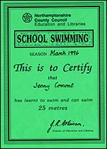 Jenny's 10 metre and 25 metre swimming certificates