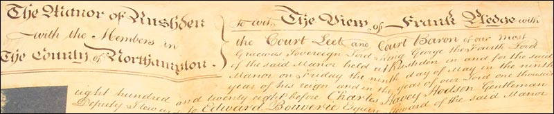 Top of a Manor Court document