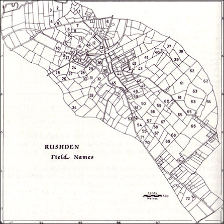 Plan of the Rushden Field Names between 1798 -1932