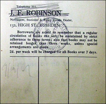 J F Robinson library label