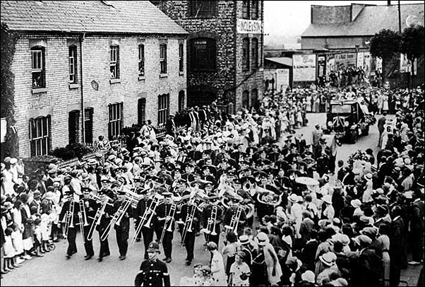 Marching in the town parade in about 1920