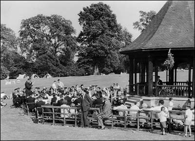 Temperance Band playing near the bandstand in the late 1950s