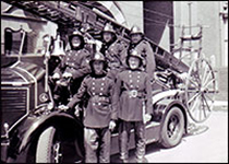 Firemen in the 1950s in their uniform