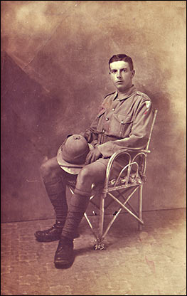 Dennis wearing his soldier's uniform sometime during WW1.