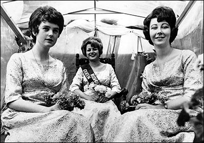 Jackie Case as Carnival Queen with Jenny Wynd and Janice Lee as attendants