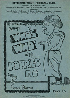 The programme cover with a George Boston cartoon.
