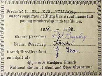 Mr E W Hillson membership 1918-1968