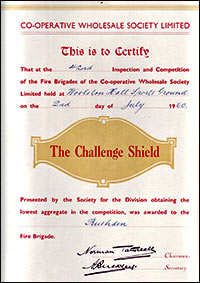 Picture of a Challenge Shield Certificate July 1960