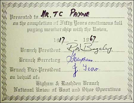 Mr T C Payne - 50 years membership1917-1967