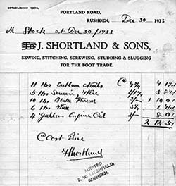 Copy of an invoice showing stock held by the business in 1933