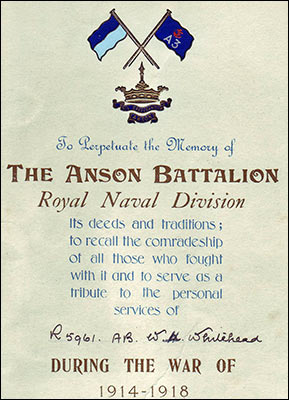 Commemoration from the Anson Battalion